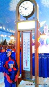 Registro da temperatura da Montanha de Neve do parque de neve de Gramado